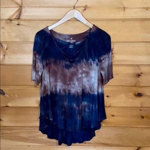 AEO Soft & Sexy Navy Tan Tie Dye Lace Up Top